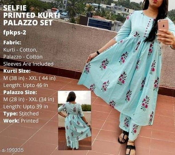 Rate: 1399 COD is available Returns Accepted  Best Quality Guaranteed  Whatsapp Us To Order 8700989598 . ℹPRODUCT DETAILS:- Trendy Selfie Kurti Palazzo Set Fabric: Kurti - Cotton Palazzo - Cotton  Sleeves: Sleeves Are Included  Size: Kurti - M - 38 in L - 40 in XL - 42 in XXL - 44 in Length - Up To 46 in Palazzo - M - 28 in L - 30 in  XL - 32 in  XXL - 34 in Length - Up To 39 in  Type: Stitched  Description: It Has 1 Piece Of Kurti & 1 Piece Of Palazzo  Work: Printed . . . . . . . . . . . . . #kurti #kurtis #trendykurti #fashion #trendsgully #buykurtionline #kurtilover #partywear #onlineshopping #kurtioninsta #kurtidesign2018 #kurties #kurtidress #indianwear #kurtiforparty #hiphop #kurticantik #shopping #buykurti #kurtiindia #shopoholic #kurties #buykurtis #ethnic