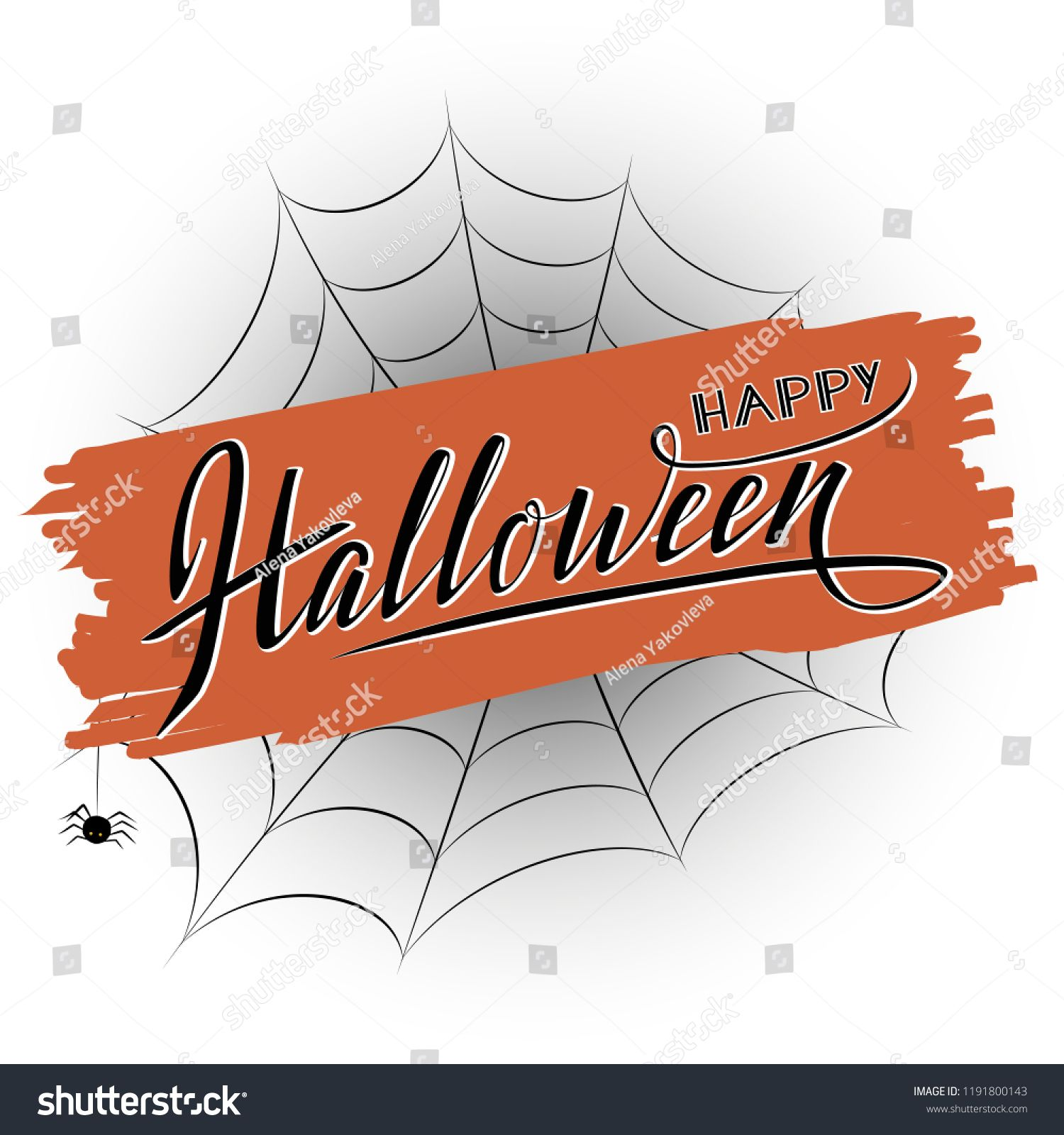 Happy halloween hand sketched vector lettering. Orange