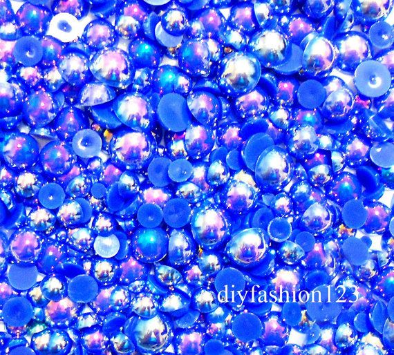600+pieces+AB+Navy+Blue+Mix+Sizes+flat+back+resin+by+diyfashion123,+$6.99