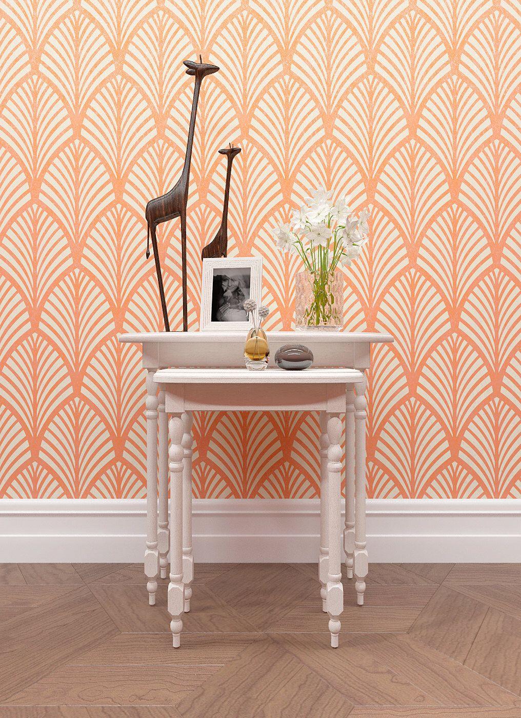 Decorative seamless wall stencil large stencil