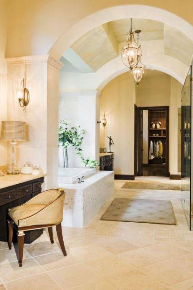 arch ceilings in bathroom, like it