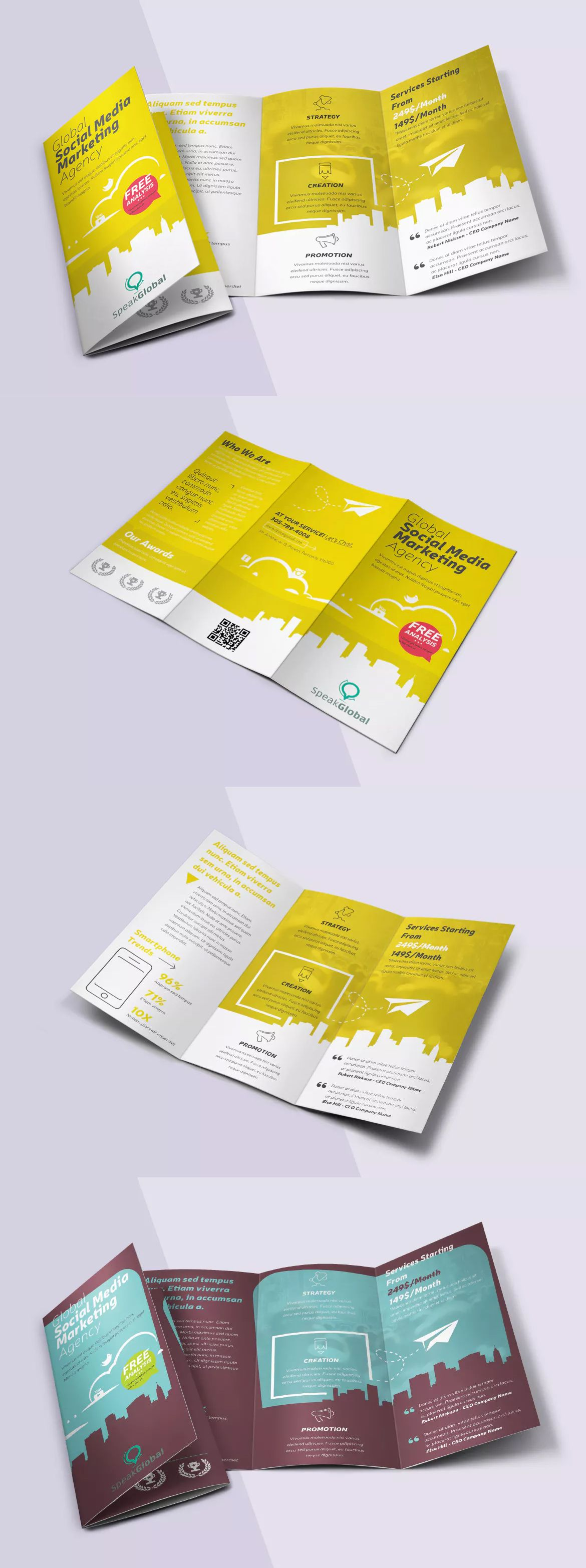 social media tri fold brochure template psd a4 letter size