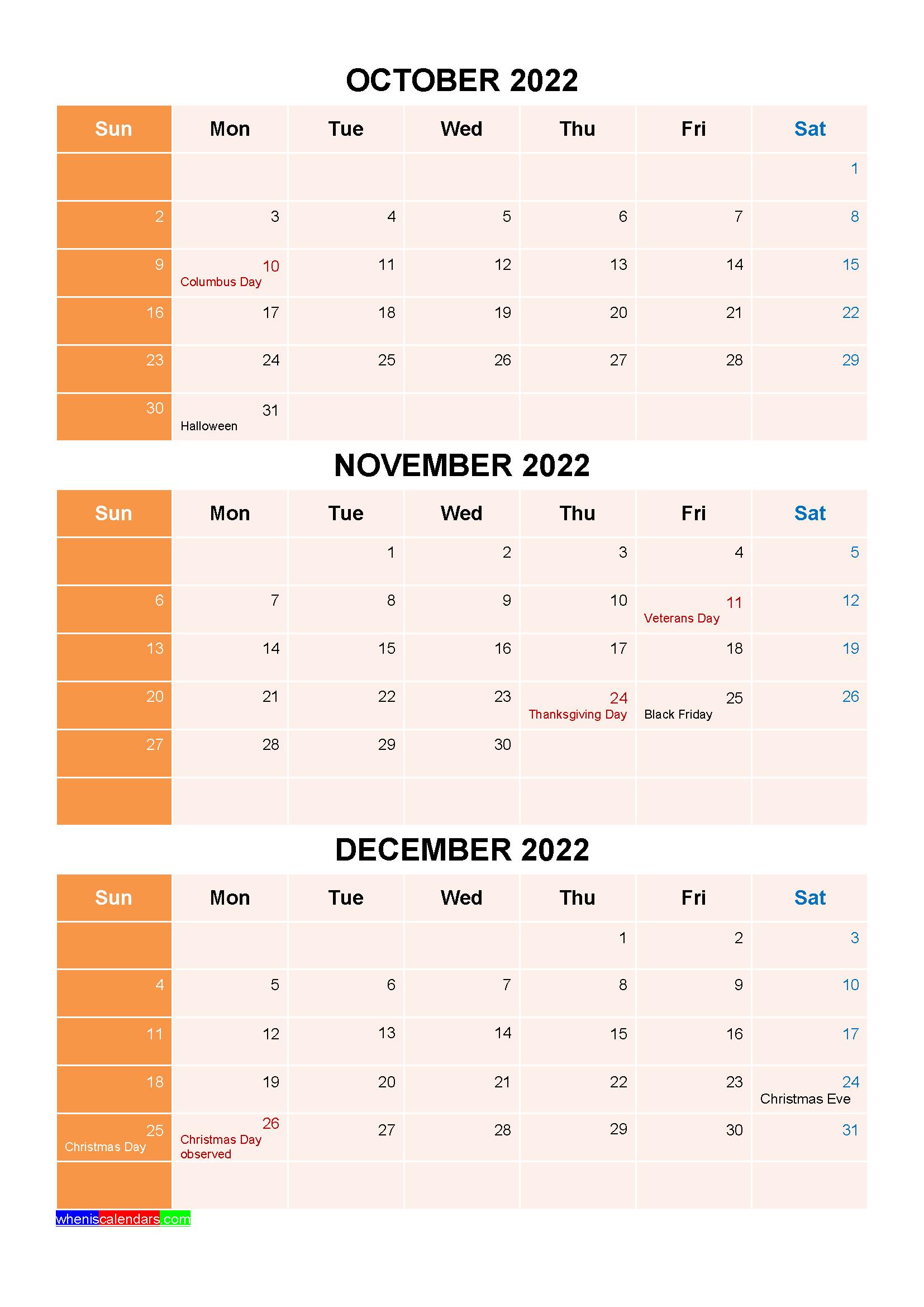 Calendar For December 2022.October November December 2022 Calendar With Holidays Four Quarters Printable Calendar July January February March Calendar