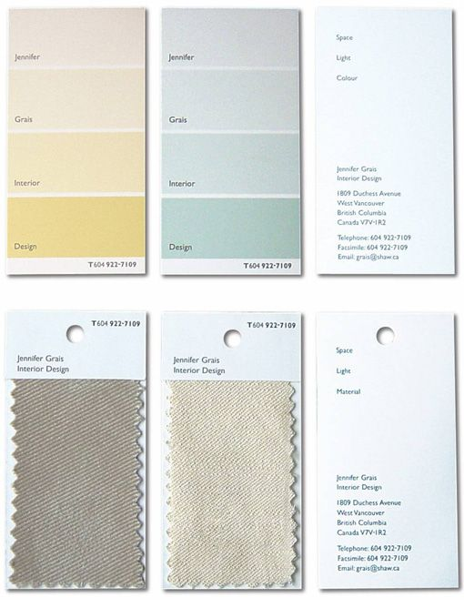 Clever Paint Chip And Fabric Sample Business Cards For An Interior Designer