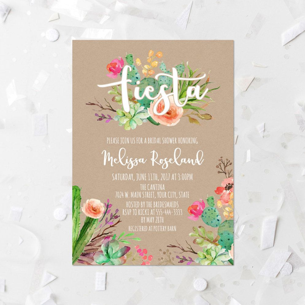 fiesta bridal shower invitation printable succulent bridal shower invite cactus fiesta shower invite kraft paper watercolor succulent floral by
