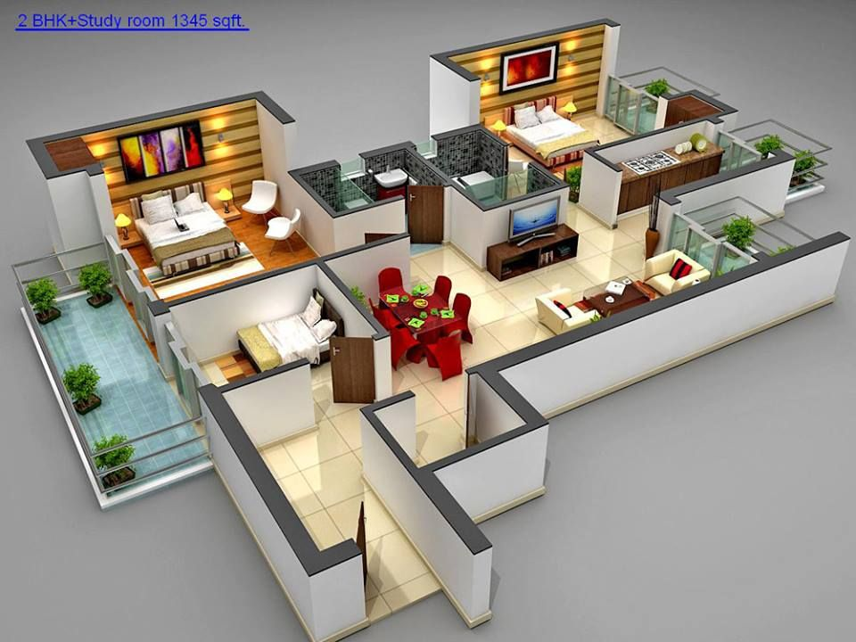 2 Bedroom Apartment Design Plans 2-bedroom plus den | 3d floor plans | pinterest | bedrooms