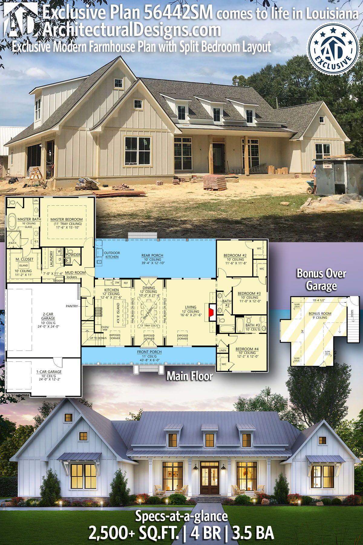Plan 56442sm Exclusive Modern Farmhouse Plan With Split