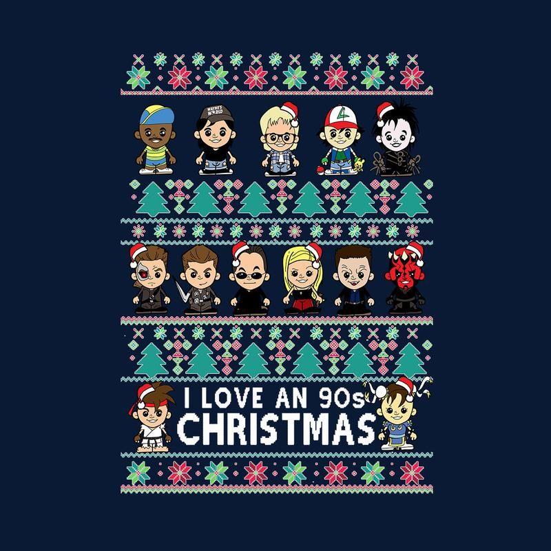 Lil 90s Christmas Star Wars Terminator Street Fighter Mens T Shirt