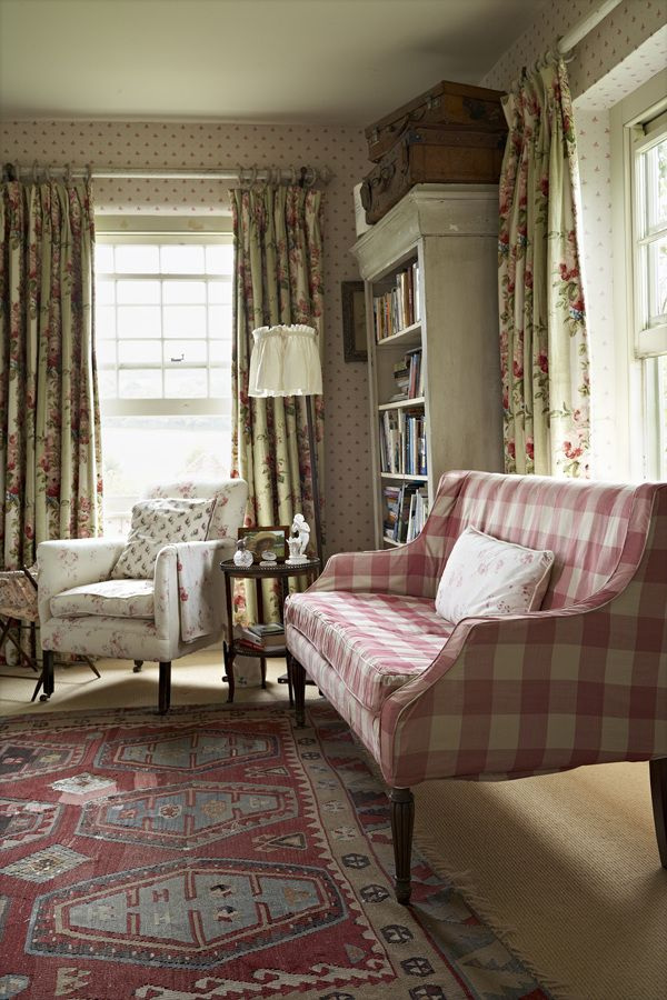 pink & white check and chintz in this English sitting room ~ Nick Carter photo  home ...