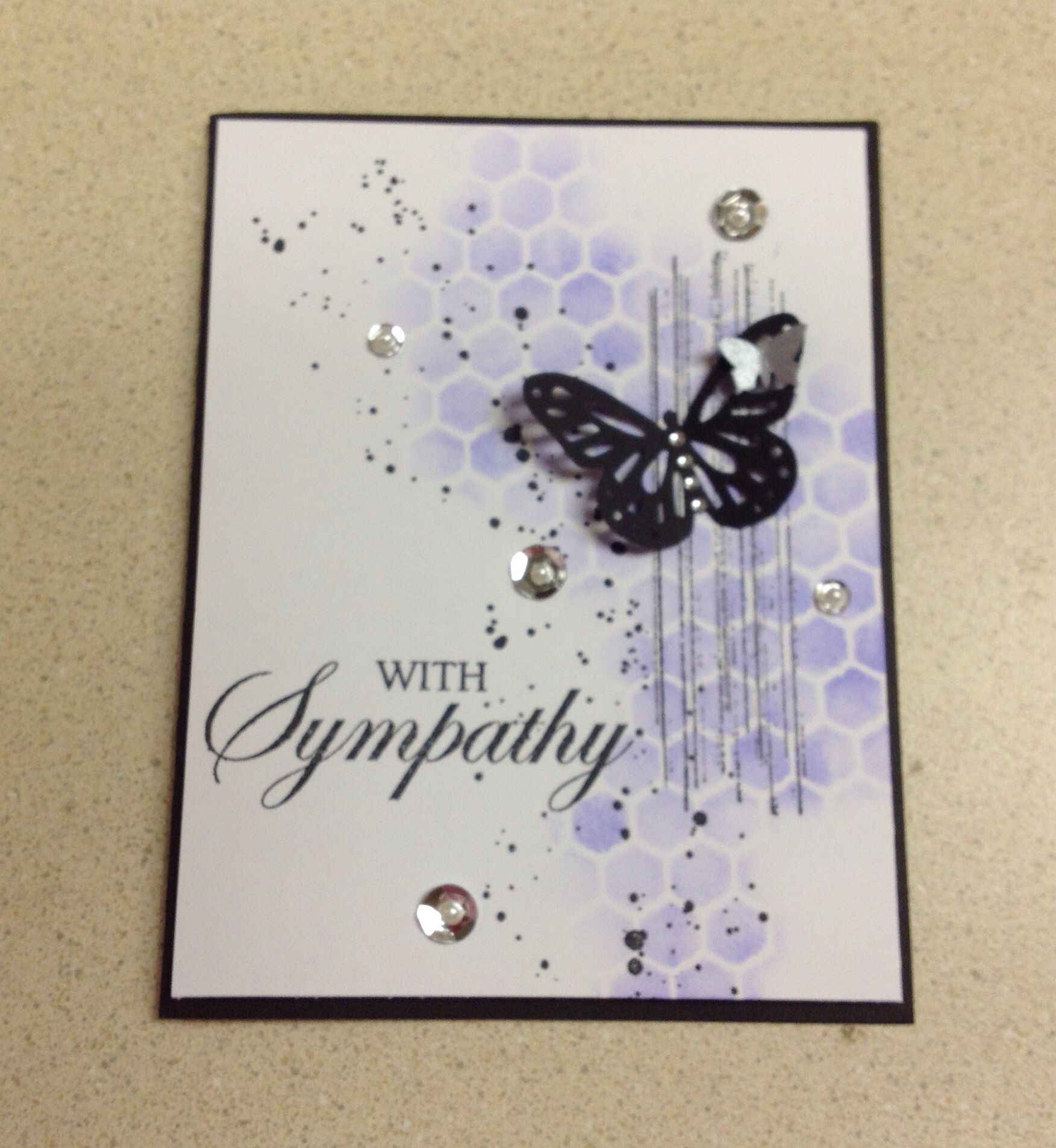 made by Vicky Wilkinson. Sympathy card, chicken wire stencil, Martha ...