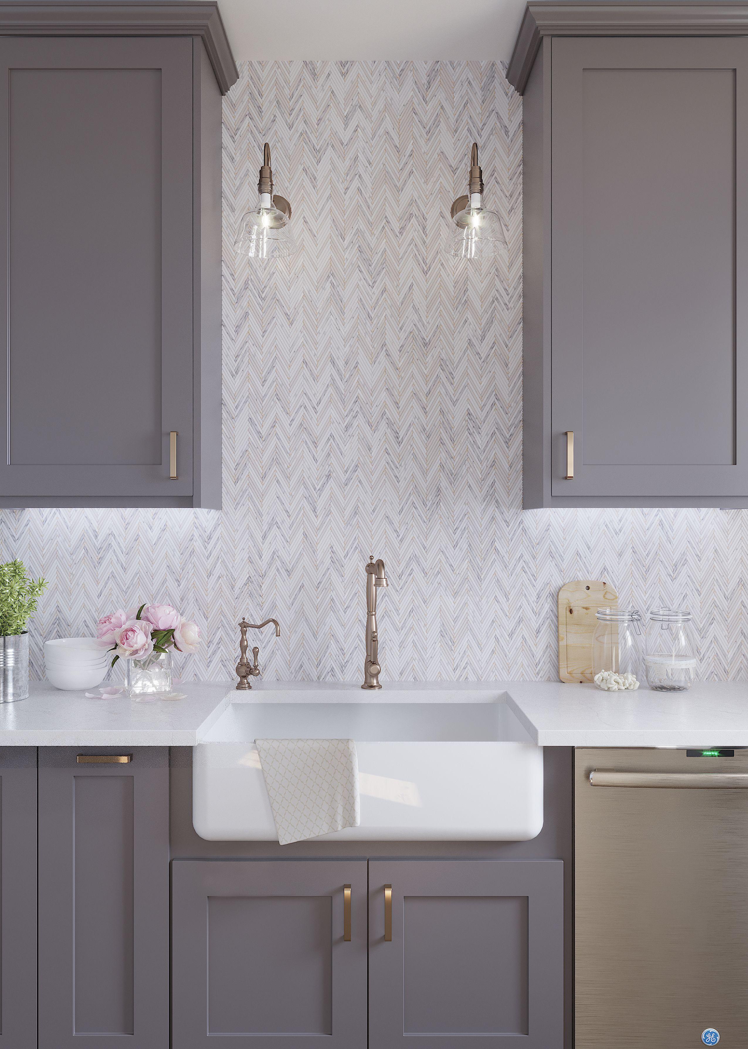 - Skinny Chevron Calacatta Gold Mosaic Tile Modern Kitchen
