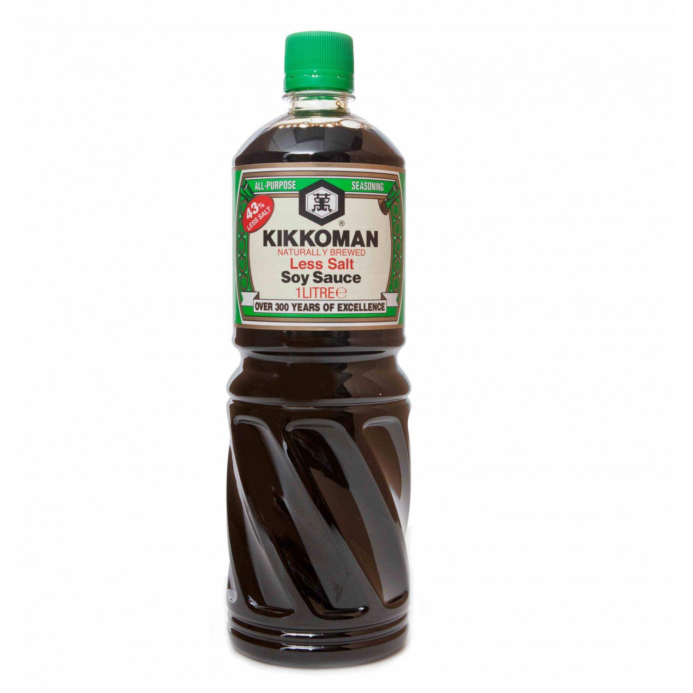 B0048 kikkoman naturally brewed less salt soy sauce 1l