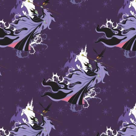 Disney Villain Friends Cruella Maleficent Purple Cotton Fabric Fat Quarter