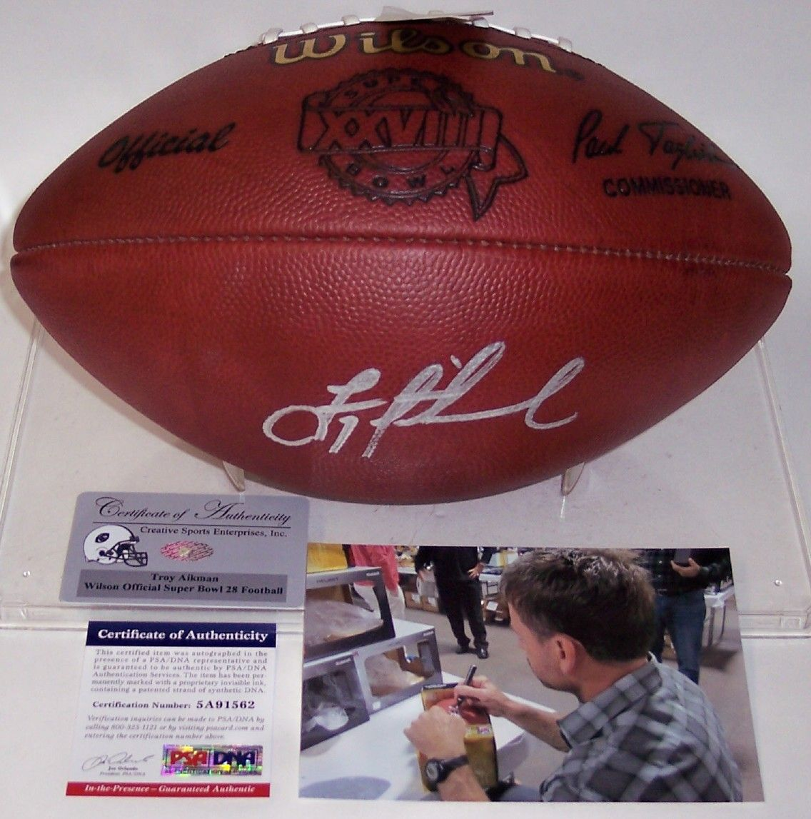 f254d5f7f0a Troy Aikman - Autographed Official Wilson Super Bowl XXVIII NFL Football -  PSA/DNA
