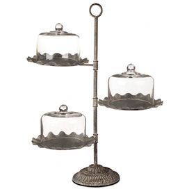 Three Tier Fluted Metal Dessert Stand With Three Glass Domes