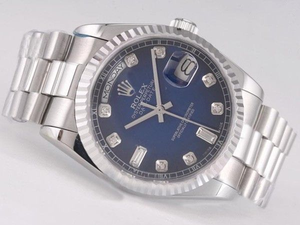 Rolex Day-Date Swiss ETA 2836 Sale Movement Blue Dial Diamond Marking
