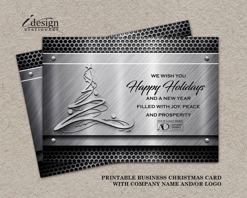 Construction Christmas Cards With Logo | Printable Industry Specific ...