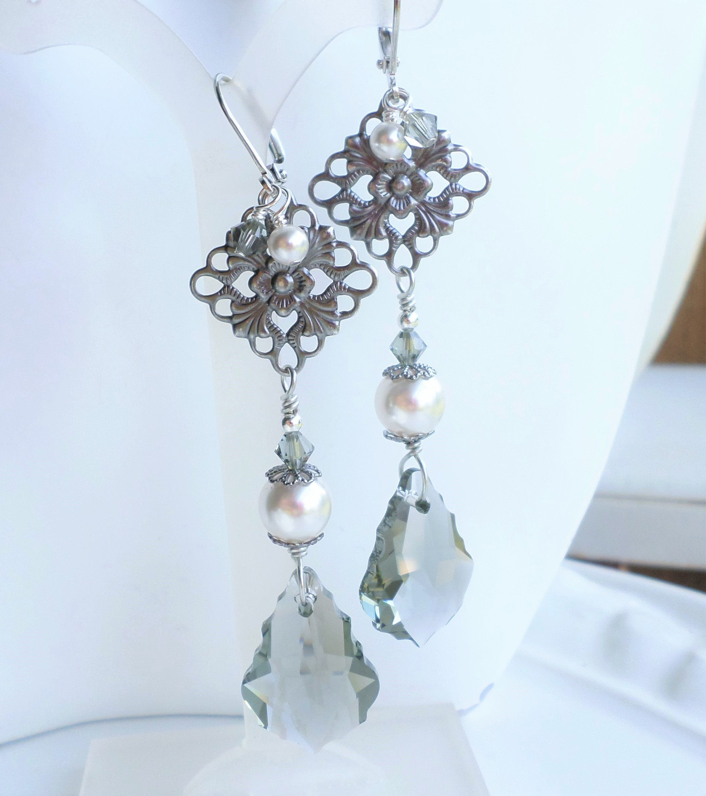 36d682626f90b Gray Crystal Victorian Earrings, Black Diamond Swarovski Crystals ...