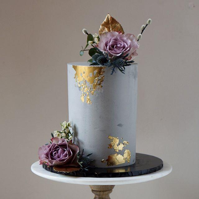 Gold leaf floral concrete cake
