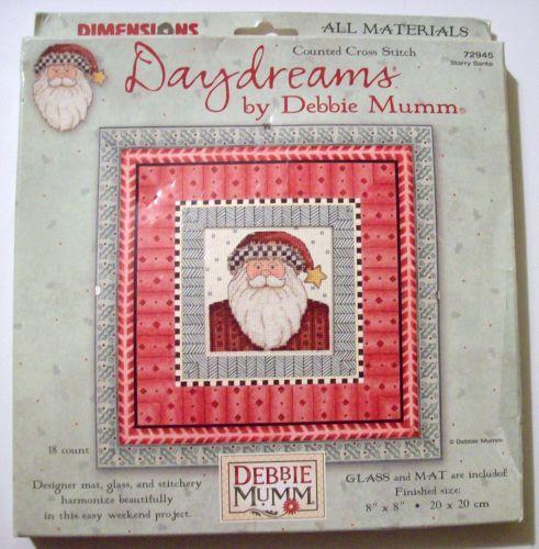 """Debbie Mumm Starry Santa Counted Cross Stitch Daydreams KIT Glass Mat 8""""X8"""" NEW"""