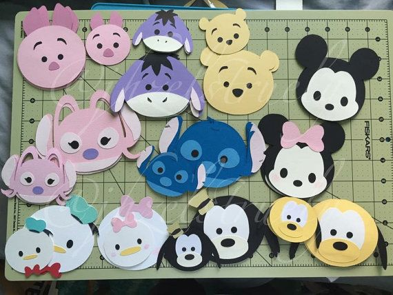 Disney Mickey Minnie Mouse Tsum Tsum cardstock cupcake topper party