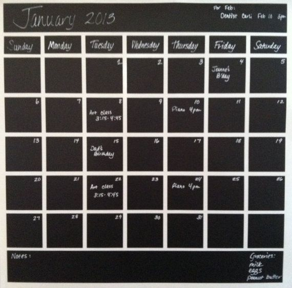 Chalkboard Calendar Decal : Vinyl chalkboard calendar monthly decal wall