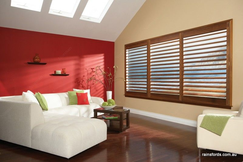 Stained Shutters Full Height Shutter Panels With Hidden Tilt Rod And Window Sill Framing