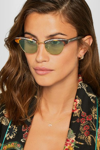 3f0a9a036a5 GUCCI Pixie alluring crystal-embellished gold-tone and acetate cat-eye  sunglasses