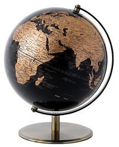 Contemporary Globe Collection Black Copper Geographical World Map