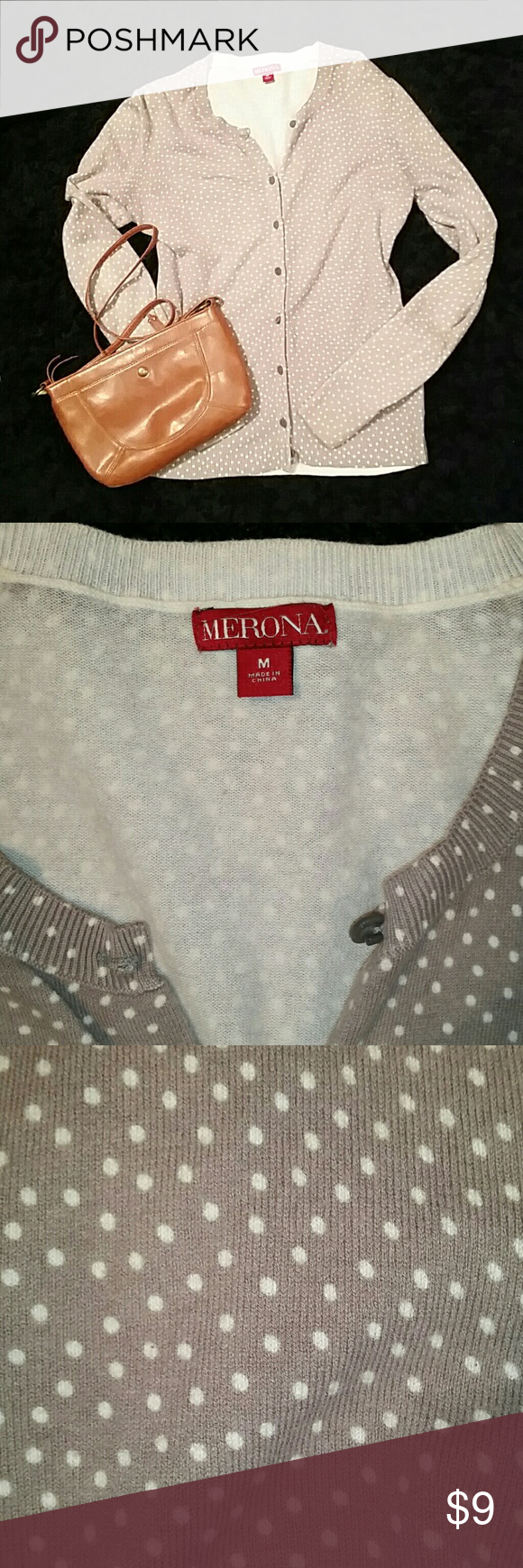 Merona Cardigan - Gray & Cream polka dot - Medium Merona Cardigan - Gray & Cream polka dot - Medium Merona Sweaters Cardigans