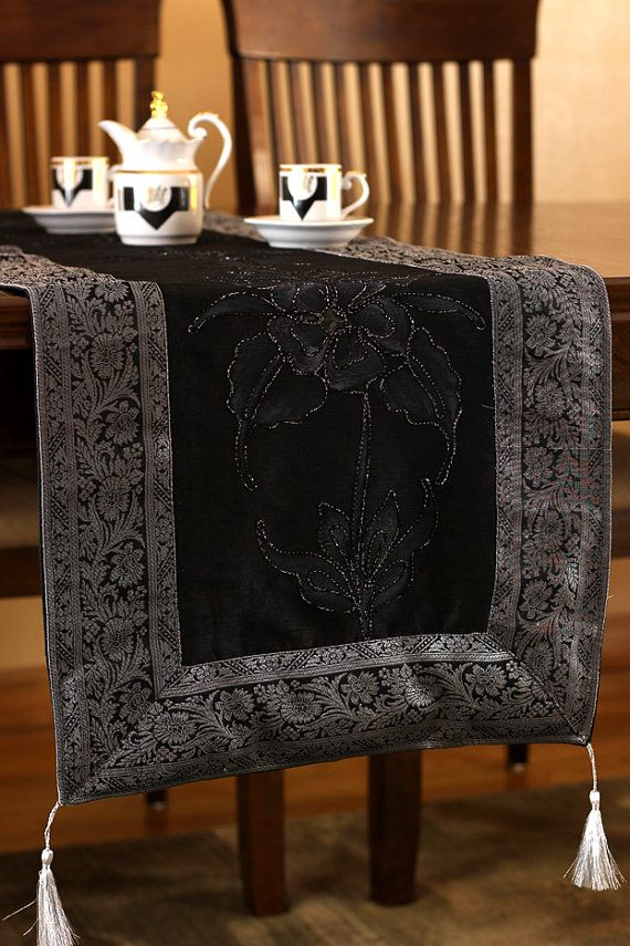 Hand Painted 120 Inch By 17 Inch Long Table Runner (Mystic Black)