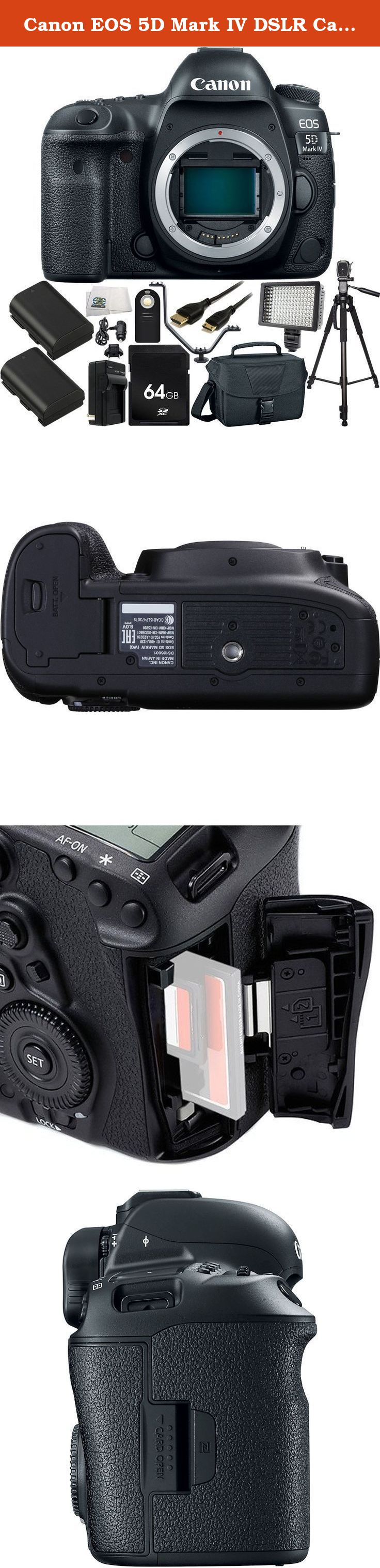 Canon EOS 5D Mark IV DSLR Camera (Body Only) - International Version (No Warranty) 64GB Bundle 13PC Accessory Kit Which Includes 64GB Memory Card + 2 Replacement LP-E6 Batteries + MORE. Continuing on in their legacy of powerful workhorse cameras, Canon has released the 5D Mark IV DSLR which is an outstanding still photography option and an able 4K-capable video machine. This multimedia maven offers a newly developed 30.4MP full-frame CMOS sensor paired with the DIGIC 6+ image processor in...