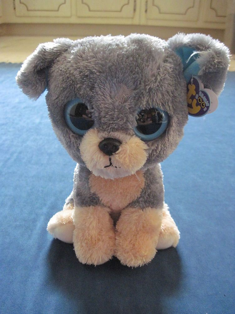 "TY Beanie Boos SCRAPS the DOG big eyes New NWT 10"" Buddy Size 2010 #Ty"