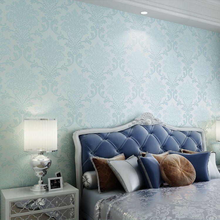 European 3d Stereoscopic Relief Aqua Blue Woven Wallpaper Bedroom