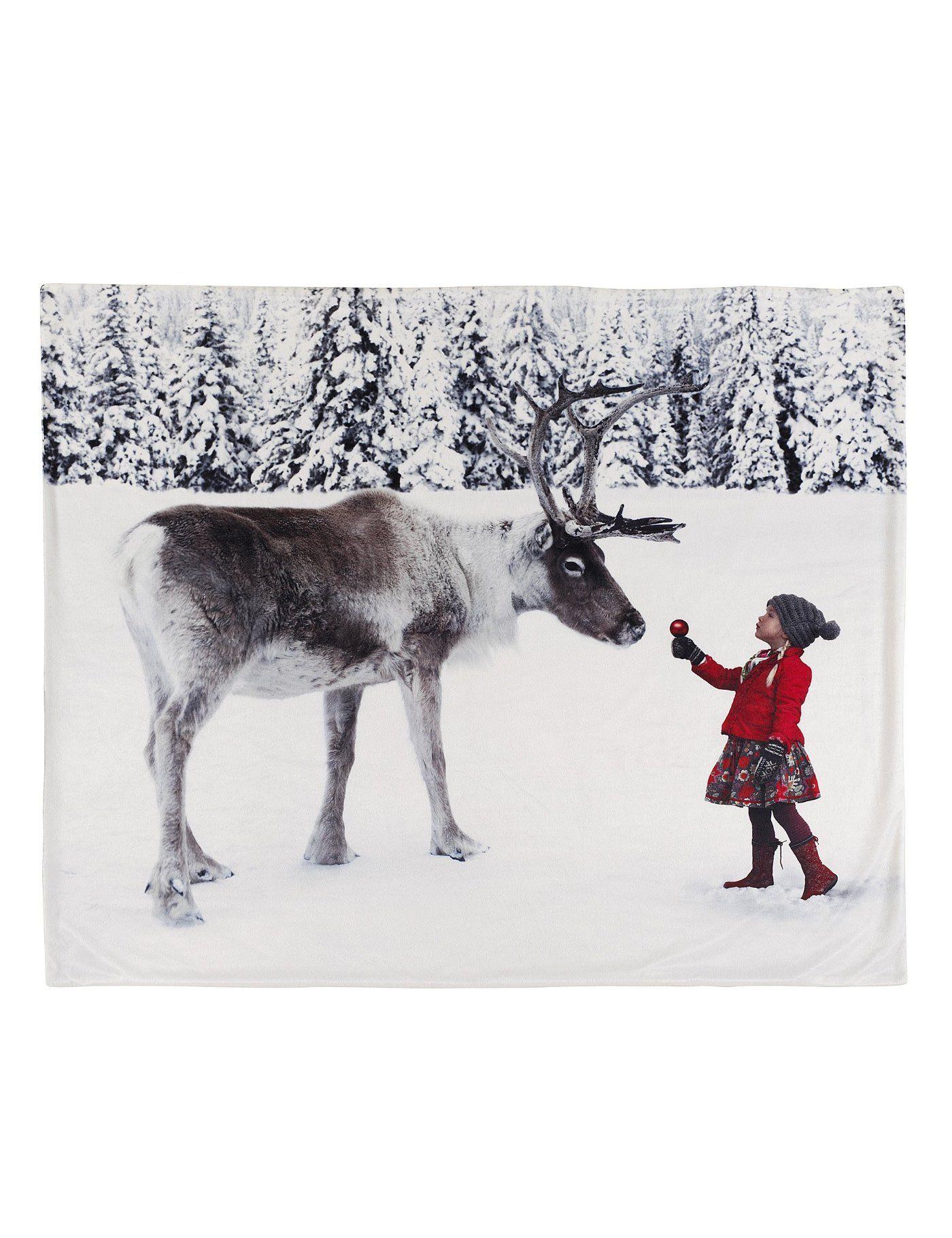 Holly reindeer throw santa and reindeer reindeer