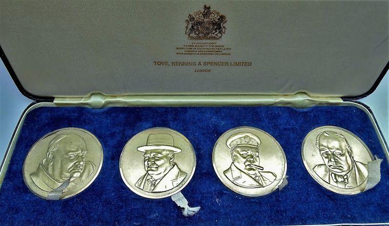 TOYE,KENNING & SPENCER Ltd Cased Sir Winston Churchill Silver Medal Set -…