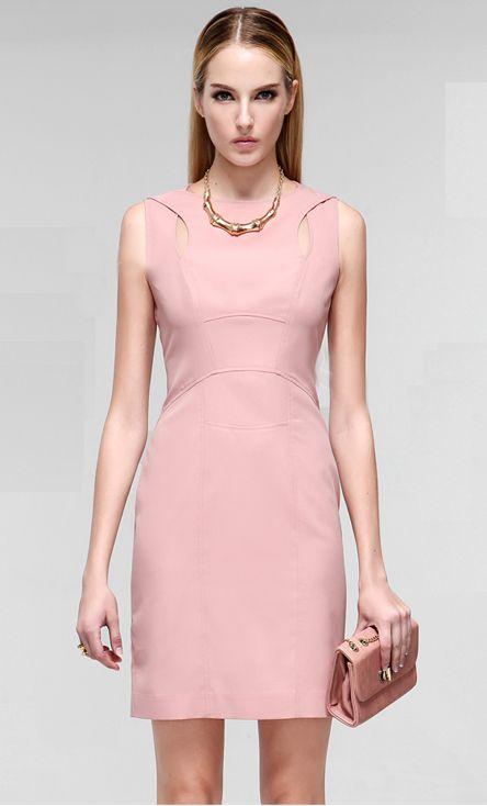Morpheus Boutique  - Pink Designer Hollow Out Sleeveless Pencil Dress