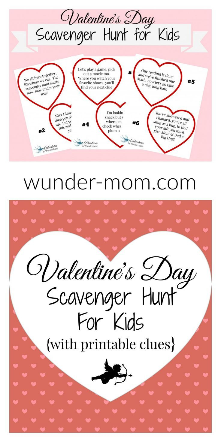 Valentine\'s Day Scavenger Hunt for Kids with Printable Clues | Free ...