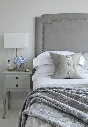 Guest Bedroom  Grey Upholstered Headboard With Chrome Stud Detail. Farrow  And Ball Strong White Paint Colour