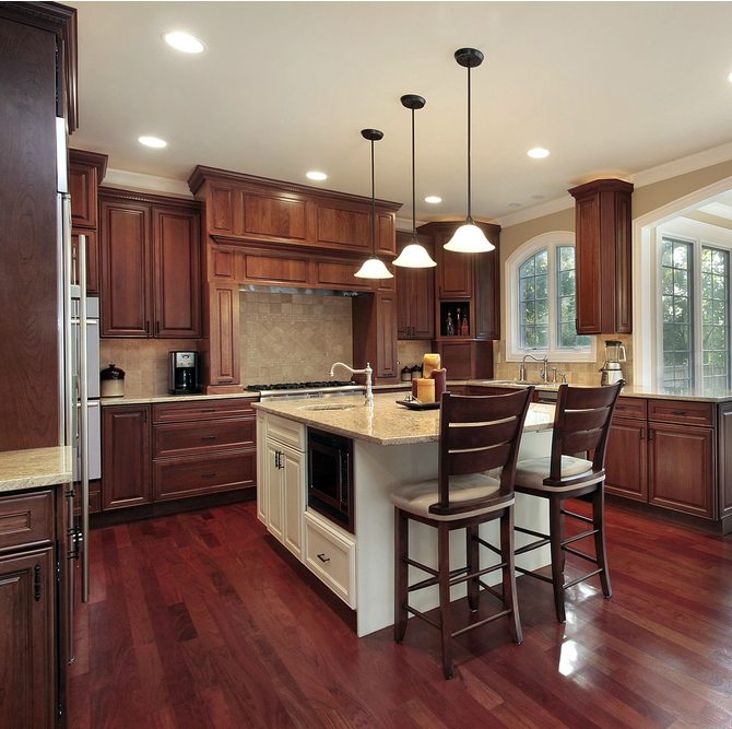 Cherry Wood Kitchen Cabinets: 43 Kitchens With Extensive Dark Wood Throughout