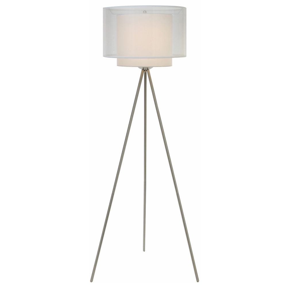 Brella floor lamp in a brushed nickel finish with a sheer snow/shantung two tier shade