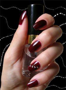 Bordeaux et strass - Nature Nails Nail Art by Tenshi no Hana