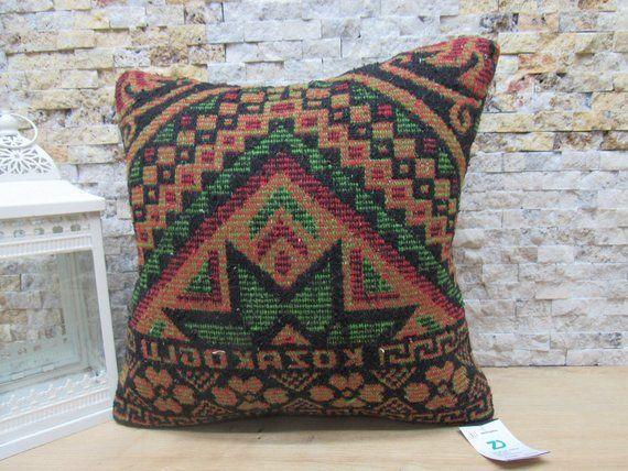 Bohemian kilim pillow handwoven kilim pillow boho pillow 18x18 anatolian kilim pillow sofa pillow cushion cover code 1250