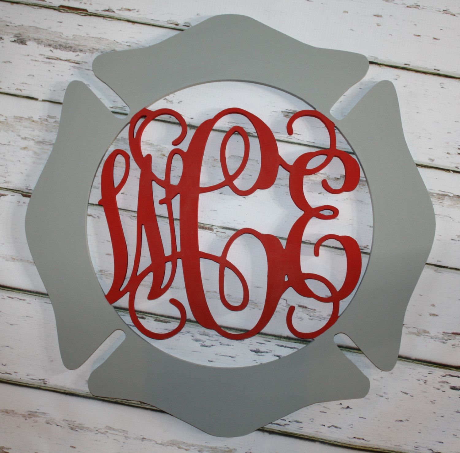 Firefighter Maltese Cross 18  3 letter script Monogram Door Hanging-Firefighter Gift Firefighter & Firefighter Maltese Cross 3 letter script Monogram Door Hanging ...