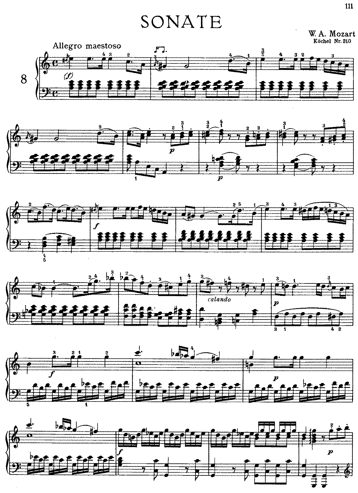 Partitura da Sonata para piano n. 8 em Lá menor, K.310 (Piano Sonata ...