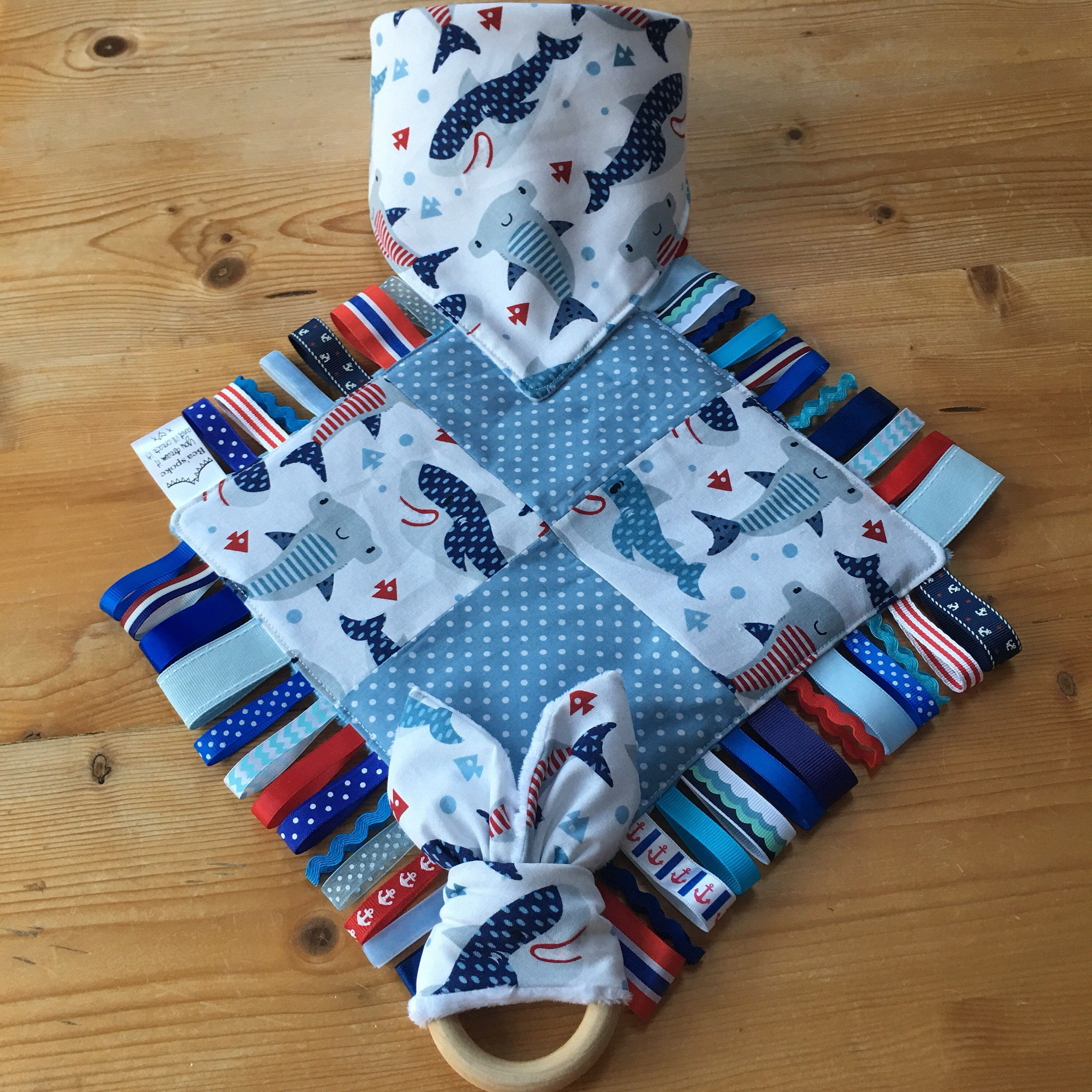 Excited to share this item from Bea spoke s  etsy shop  Baby Shark Ribbon  Taggy Blanket Sea Ocean Shower Gift Nautical Blue Teether Ring Quilt Boy  Nursery ... 1e8e57ab4