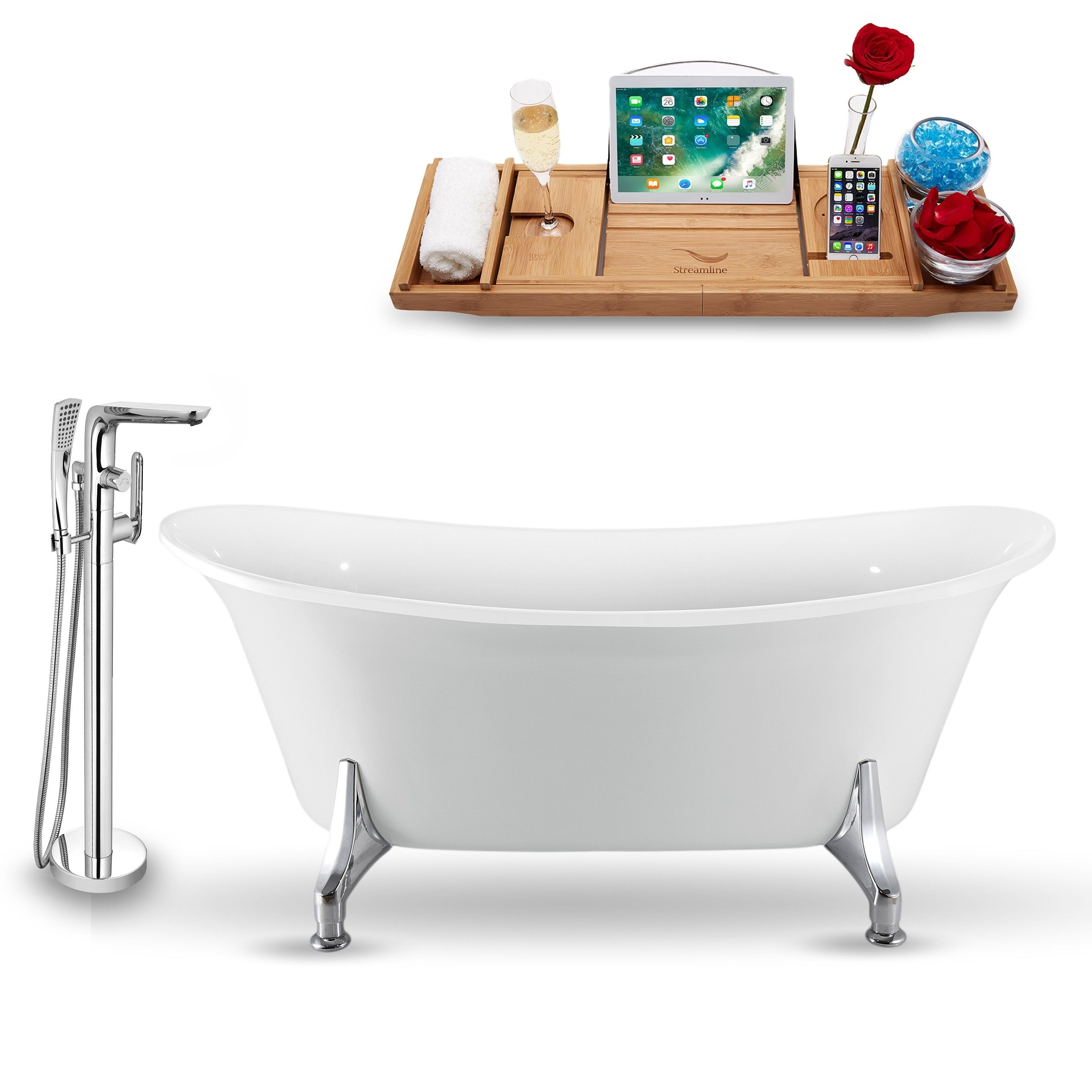 Tub Faucet And Tray Set Streamline 70 Clawfoot White Cast