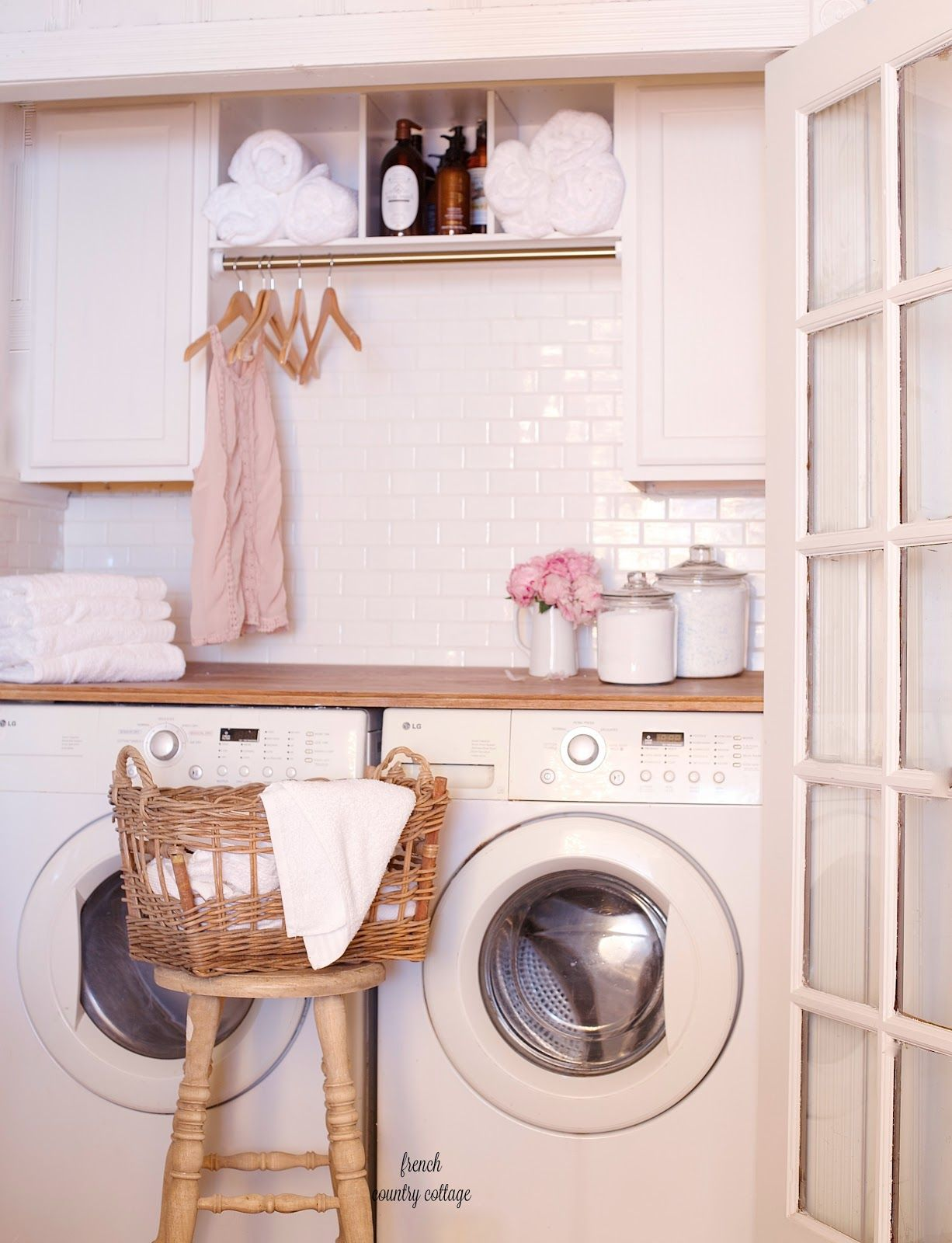 French style laundry basket and laundry room closet renovation