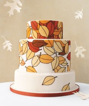 Leaves in varying autumn colors are painted with food coloring and piped in royal icing. The cake is triple chocolate with mocha buttercream―rich and comforting. Other fall ideas? Incorporate pumpkin or hazelnuts into the filling.