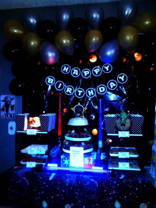 boys glowinthedark Star Wars birthday party Outer space